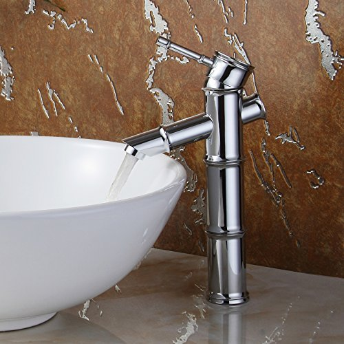 ELITE Luxury Bamboo Style Long Chrome Finish Bathroom Sink Faucet