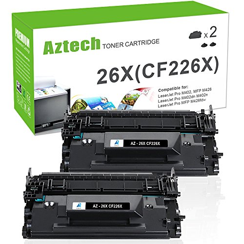 Aztech 2PK 9,000 High Yield Compatible for HP 26X CF226X 26A CF226A MFP M426fdw M402n Toner Cartridge for HP Laserjet Pro M402n M402dn M402dw M402d, MFP M426dw M426fdw M426fdn Toner Printer Black Ink