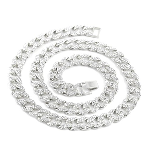 Crystal Chain Link - Botrong Crystal Cuban Link Chain Men Hip hop Necklace Jewelry (18 Inches)