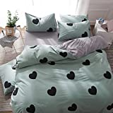 BuLuTu 3 Pieces Kids Bedding Duvet Cover Sets Twin Cotton Green/Grey For Boys Girls,Love Print Super Soft Premium Bedroom Modern Kids Duvet Cover Zipper Closure For Home Bedding,NO COMFORTER