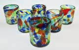 Mexican Glass Confetti Swirl Tumblers 10 Oz Set of 6