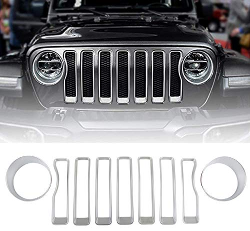 VroomTec Automotive Jeep Wrangler Grill Accent Covers Made of Premium ABS Plastic – Designed for 2018+ JL Sport Wranglers - New Body Style (Silver)