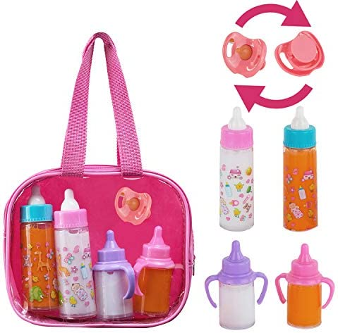 Exquisite Buggy FASH N KOLOR My Sweet Baby Disappearing Doll Feeding Set | Baby Care 4 Piece Doll Feeding Set for Toy Stroller | 2 Milk & Juice BottlesToy Pacifier for Baby Doll