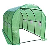 GreenWise 10' x 6.5' x 6.5' Extra Large Heavy Duty 2 Door Walk-in Tunnel Greenhouse Garden Plant Seed Green House Premium Steel Frame, W/Ventilation Windows Outdoor Gardening
