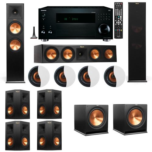 dolby-atmos-724-klipsch-rp-280f-tower-speakers-r115sw-with-onkyo-tx-rz3100