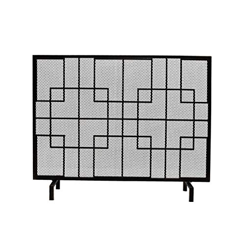 Iron Firescreen - Great Deal Furniture 309247 Dorothy Modern Single Panel Iron Firescreen, Black Gold Finish,