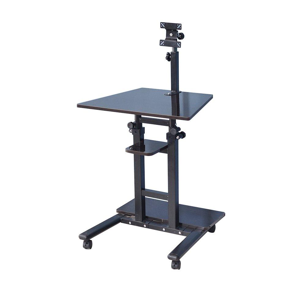 Soges Sit Stand Desk Stand up Desk Mobile Computer Desk Workstation with Casters Moving Desk, Black XG01-BK-N