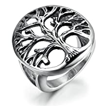 Stainless Steel Ring for Men, Hollow Tree Ring Gothic Silver Band 27*24MM Epinki