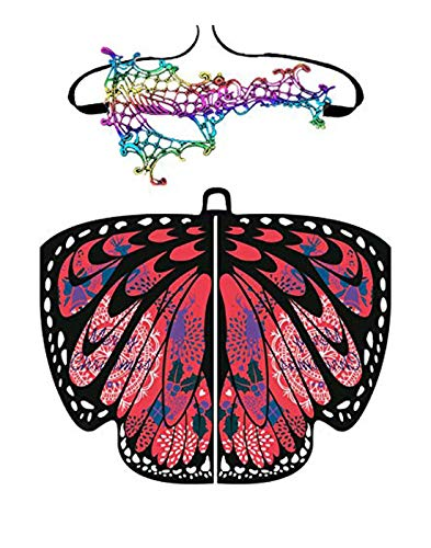 Shireake Baby Christmas/Party Prop Soft Fabric Butterfly Wings Shawl Fairy Ladies Nymph Pixie Costume Accessory ... (168x135CM, Christmas-02(red))