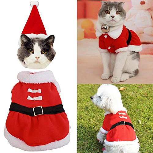 Bolbove Pet Christmas Santa Claus Dress Costume for Small Girl Dogs & Female Cats Winter Coat Warm Clothes (Red, Medium)