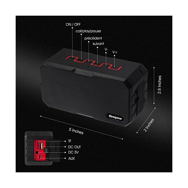 Enceinte Bluetooth Haut Parleur Bluetooth Waterproof Sans Fil Portable - Deepow 10W Enceinte Bluetooth Speaker Puissante étanche IP67 3000mAh Compatible Android iPhone TV et Autres Appareils Bluetooth 4