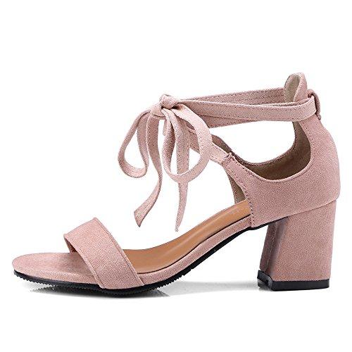 Pink In Fibbia Sandali Scamosciata Alla Toe Casual Con Cinturino Alto Scarpe Donna Per Caviglia Pelle Da Open Le Tacco Donne BHqxwHvEr