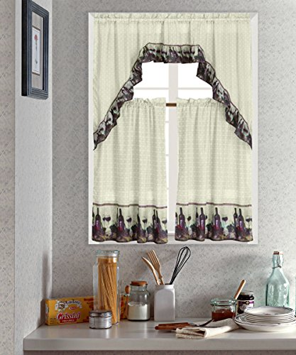Wine Printed Kitchen Curtain Tiers & Swag Set