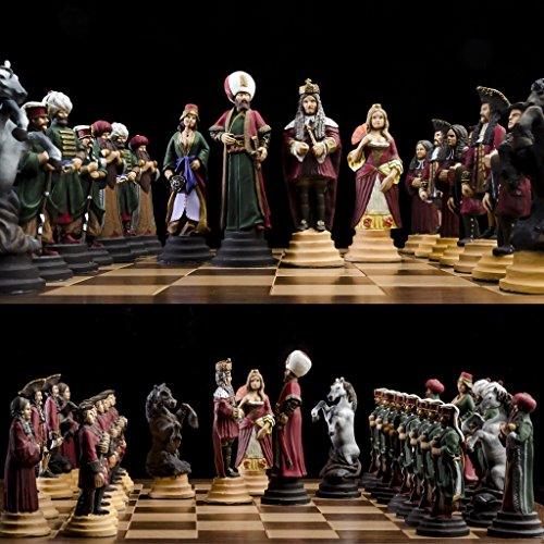 (Unique hand carved chess set Habsburg vs Ottoman, pewter handcrafted chess set,Hand)