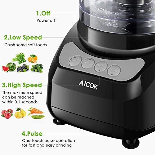 Food Processor 12-Cup, Aicok Food Processor Blender, Multi-Function Food Processor, 1.8L, 3 Speed Options, 2 Chopping Blades & 1 Disc, Safety Interlocking Design, 500W, Black (Black-2)
