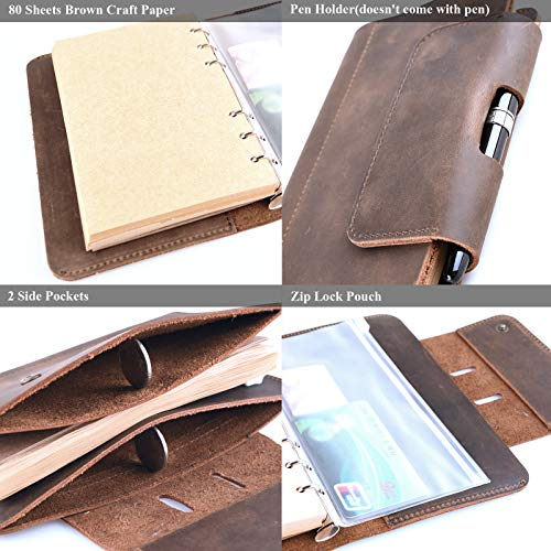 Personalized Leather Journal Notebook Genuine Handmade Customized Refillable Travel Daily Notepad Sketchbook,Vintage Card Phone Cover Gift for Men Women 7.4 x 4.8'' (A6-Personalized) by Z'arte (Image #3)