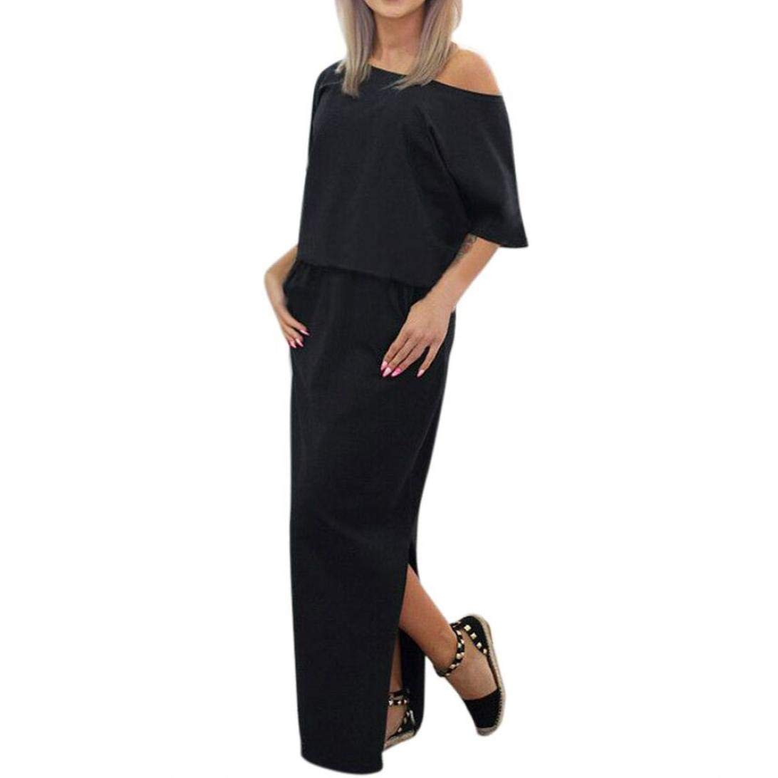 Sexy Women Summer Long Maxi BOHO Evening Party Dress with Pocket (S, Black)
