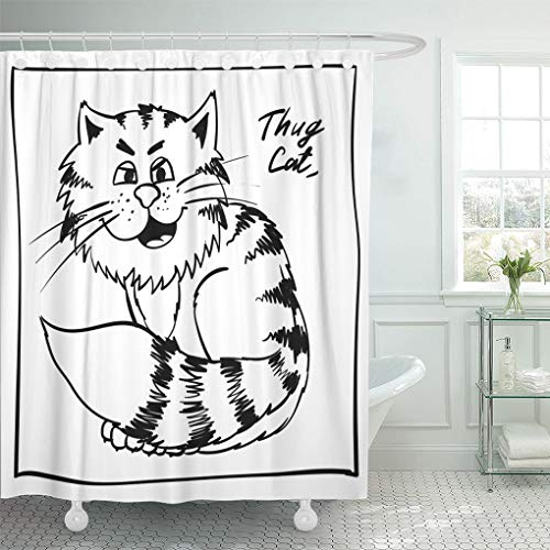 Ashleyallen Shower Curtains Super Thug Kitty on The Holiday Rest Infantile Outline Sketch Cat for Coloring Book Bandit Animal Doodle Shower Curtain 72 x 72 Inches Shower Curtain with Plastic Hooks