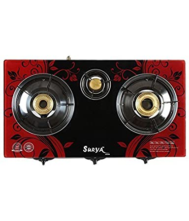 Surya Crystal Red Floral 3 Burner Gas Stove, Red And Black Gas Stoves at amazon