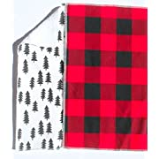 Lumberjack Burp Cloth Set of 2 - Woodland style burp cloths in red and black plaid and black pine trees - Handmade in the USA