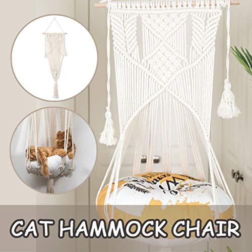 BiuBuy Boho Macrame Pet Hammock,Macrame Cat Planter,Macrame Cat Hanger,Cat Bed,Cat Hammock,Cat Cave Cat Hammock Bed Window Cat Swing Wall Hanging (C)