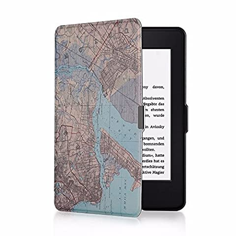 EasyAcc Kindle Paperwhite Ca Cover for All New Kindle Paperwhite 2015 300 PPI 3rd Gen / 2014 / 2013 / 2012 with Magnetic Auto Sleep Wake Function, Including Screen Protector - Staten Island (Kindle Paperwhite Case Rotating)
