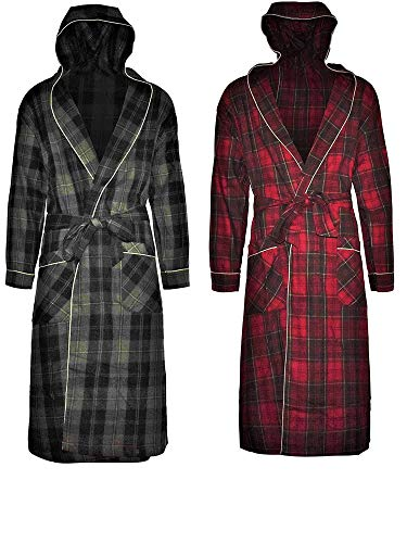 Andrew Scott Mens 2 Pack Long Robe / 100% Cotton Flannel Brush Warm Hooded Bathrobe (2 Pack -Assorted Plaids, Large/X-Large)