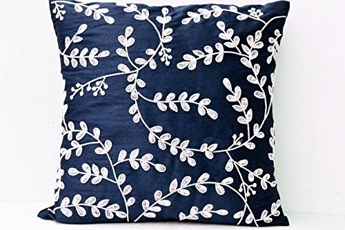 Navy Throw Pillow Cover with Sequins, Beads, Crystal Embroidery, Decorative Pillow with Intricate Floral Leaves Design, Cushion Cover
