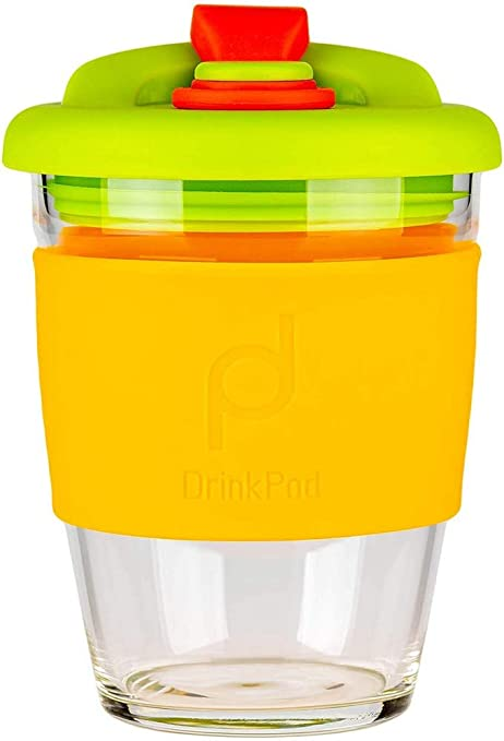 DrinkPod 12oz340 ml Reusable Coffee Cup Travel Mug with Rotating Rubber Lip BPA Free Borosilicate Glass </div>