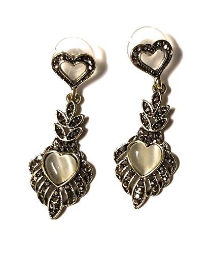 (Antique patina Cats eye Heart shape Feather dangle drop earrings Costume Jewelry Gold Tone)
