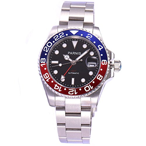 - Parnis Sapphire Glass Red Blue Bezel Black Dial 40mm GMT Automatic Watch