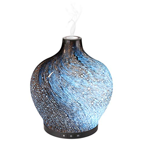 Essential Oil Diffuser, Sancusto 3D Glass Vase-shaped 120ml Ultrasonic Aromatherapy Oils Humidifier with 7 Colour Changeable LEDs Lights Night Lamp