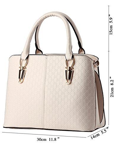 Pu Menschwear Borsa Leather Signore Viola Tote Bianco Tracolla Nuove Lucida Bag A wgFwf