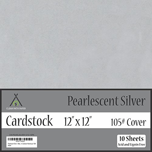 Pearl Shimmer Metallic Silver Cardstock - 12 x 12 inch - 105Lb Cover - 10 Sheets by Clear Path Paper