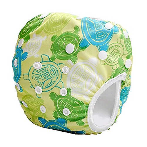 Reusable Swim Diaper - One Size Adjustable, Absorbent, Travel for Babies & Toddlers 0-36 months up to 30 lbs by Eco-Friendly Terra Baby (Green Hawaiian Turtles)