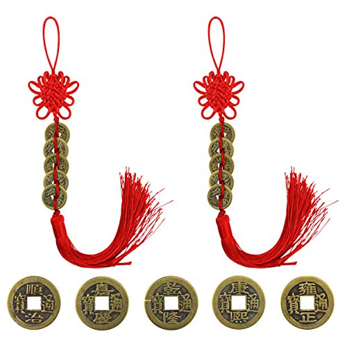 DLOnline 2 Pack Chinese Feng Shui Coins for Wealth and Success, Feng Shui Home Decoration Car Decoration Good Luck Charm Decorations for The Home,Good Luck,Chinese Coins,Feng Shui,Home Goods