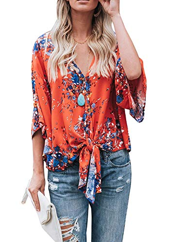 (Womens Floral Tie Front Blouses Summer Short Sleeve Deep V Neck Chiffon Tops Shirts)