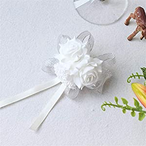 Lovgrace Hand Craft Rose Artificial Flower Girl Bridesmaid Wedding Wrist Corsage Party Prom Hand Flower Decor. (Silver) 57