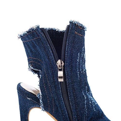 Calf Summer Shoes Heel Distressed High Stiletto Blue Dark Susanny Toe Open Boots Ankle Chic Cutout Sexy Denim Women 1n7vRq