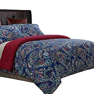 NTBAY 3 Pieces Duvet Cover Set Brushed Microfiber Paisley Printed Pattern Reversible Design with Hidden Zipper, Blue and Red, King Size