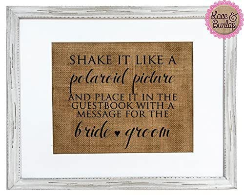"Amazon.com: Burlap 8x10 Guestbook Sign ""Shake It Like A Polaroid"