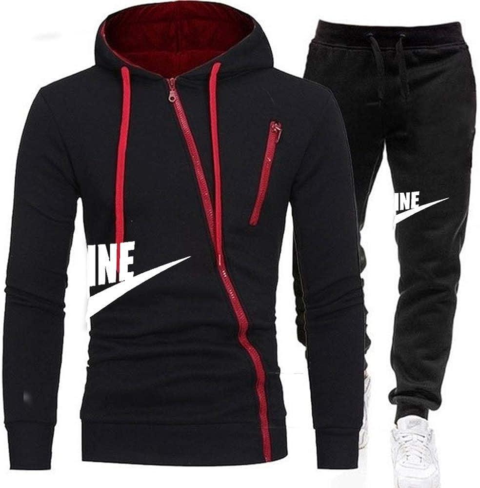 No/Brand Herren Sportswear Trainingsanzüge Herren ReißverschlussSporting Hoodies + Hosen Casual Outwear Sportanzüge Herren Hoodie White