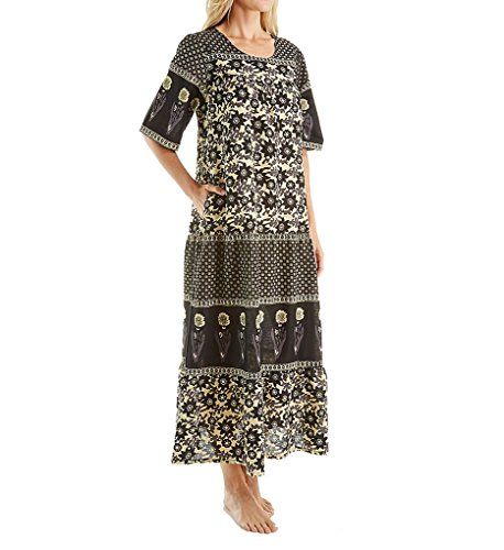 La Cera 100% Cotton Woven Ankle Length Lounge Dress (2209A) - Cotton Dress Woven