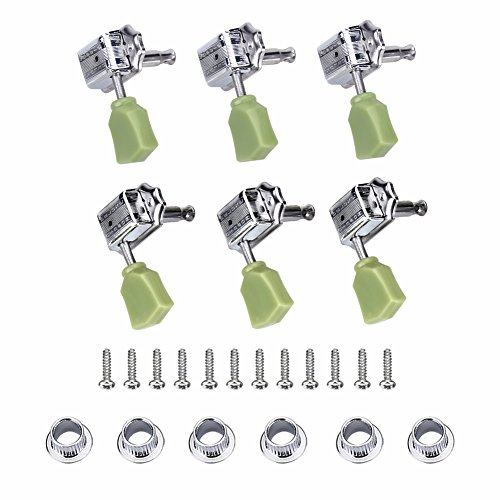 3 Pair Tuning Key Pegs, 3R 3L Machine Heads Silver String Tuners for Folk/Electric Guitar (Sg Green Gibson)