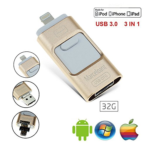USB 3.0 Flash Drives for iPhone 32GB Pen-Drive Memory Storage, Marceloant OTG Thumb Drive Lightning Memory Stick External Storage, Memory Expansion for Apple IOS Android Computers (Gold)