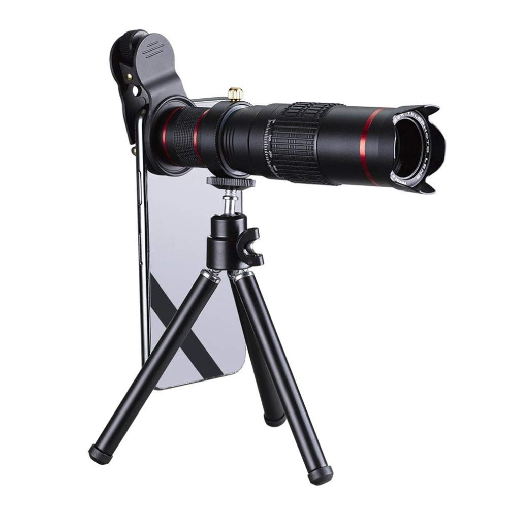 HD Telescope Universal 22X Zoom Telescope Telephoto Camera Lens with Tripod Mount & Mobile Phone Clip (Color : Black) by Gladnt