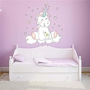 Mein Zwergenland Pegatina de Pared, Adhesivo DE Pared Adhesivo Wall Tatoo Dormitorio Infantil Dormitorio Unicornio Unicornio Cutie con 6 Estrellas - 80cm x 63cm