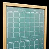 Large 36''x24'' Framed Two Month Calendar Whiteboard - Faux Chalkboard Command Center Dry Erase Board