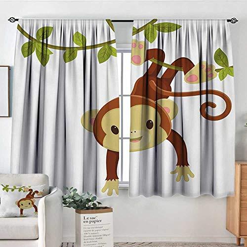 "Nursery Waterproof Window Curtain Cute Cartoon Monkey Hanging on Liana Playful Safari Character Cartoon Mascot Bedroom Blackout Curtains 72"" W x 45"" L Brown Green Pink"
