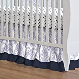 Carousel Designs Lilac and Navy Damask Crib Skirt Gathered 20-Inch Length